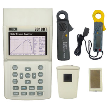 Solar System Analyzer (Photovoltaic I-V Curve Tester) with DC Current Clamp, AC Power Clamp, Thermo & Irradiance Meter